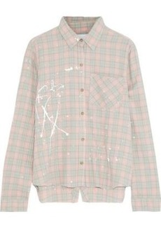 Current/elliott Woman The Ivie Open-back Painted Checked Cotton-blend Shirt Pastel Pink