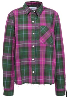 Current/elliott Woman The Ivie Split-back Checked Cotton-twill Shirt Forest Green