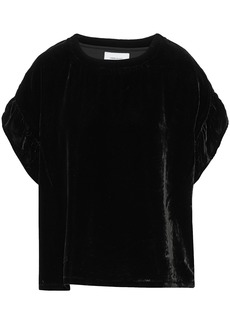 Current/elliott Woman The Janie Ruffle-trimmed Velvet Top Black