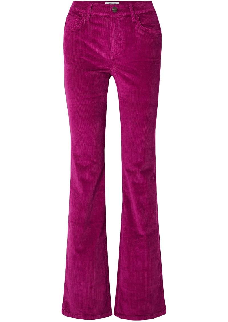 Current/elliott Woman The Jarvis Cotton-blend Corduroy Flared Pants Magenta