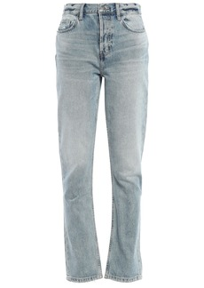 Current/elliott Woman The Jarvis Distressed Faded High-rise Straight-leg Jeans Light Denim