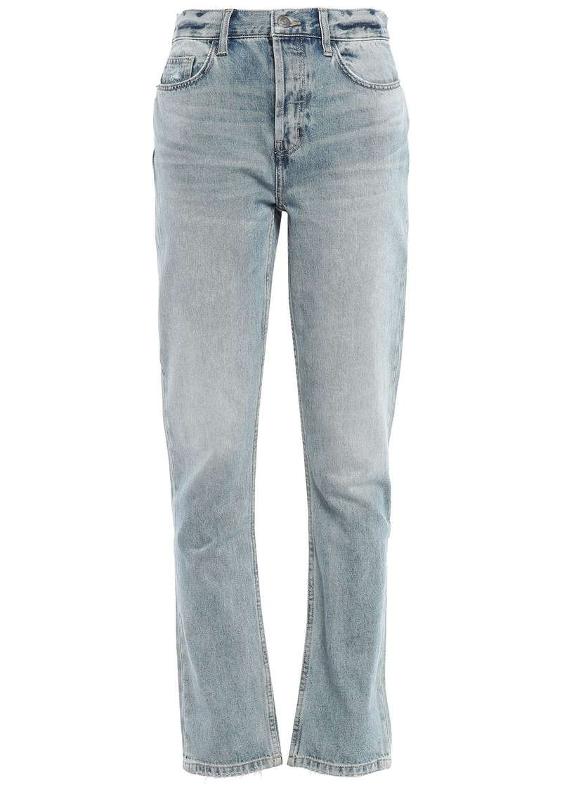 Current/elliott Woman The Jarvis Distressed Faded High-rise Straight-leg Jeans Light Denim