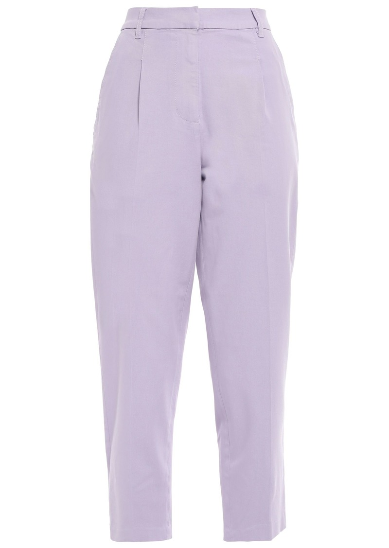 Current/elliott Woman The Keats Cropped Cotton-blend Twill Tapered Pants Lilac