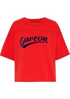 Current/elliott Woman The Kelton Flocked Cotton-jersey T-shirt Red