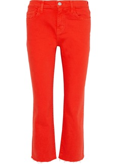Current/elliott Woman The Kick Cropped Mid-rise Straight-leg Jeans Red