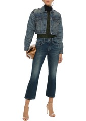 Current/elliott Woman The Kick Faded Mid-rise Kick-flare Jeans Mid Denim