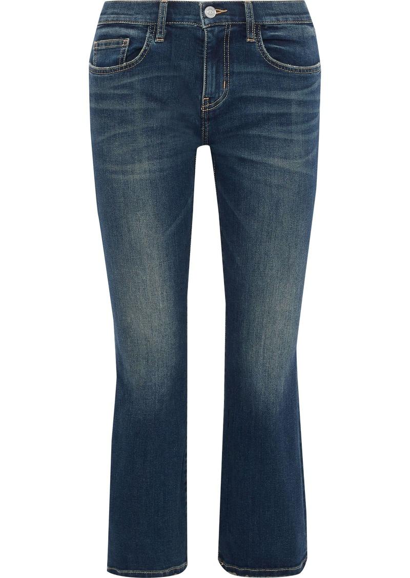 Current/elliott Woman The Kick Faded Mid-rise Kick-flare Jeans Mid Denim