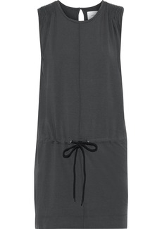 Current/elliott Woman The Knit Angeline Pintucked Cotton-blend Jersey Mini Dress Charcoal