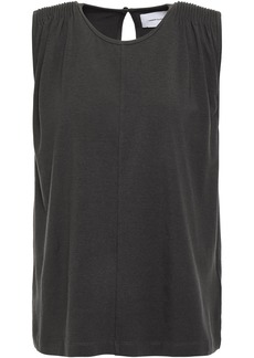Current/elliott Woman The Knit Angeline Pintucked Cotton-blend Jersey Tank Charcoal