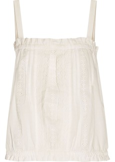 Current/elliott Woman The Lace Broderie Anglaise Cotton Tank Off-white