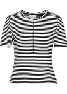 Current/elliott Woman The Leighton Striped Stretch-knit Top White