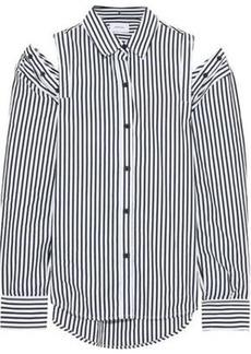 Current/elliott Woman The Loretta Cold-shoulder Striped Cotton-poplin Shirt Black