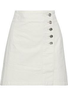 Current/elliott Woman The Love Denim Mini Wrap Skirt Ivory