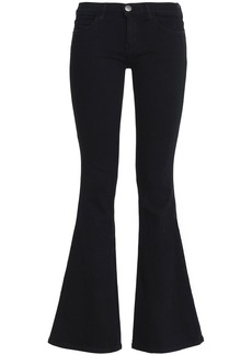 Current/elliott Woman The Low Bell Low-rise Flared Jeans Black