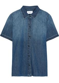 Current/elliott Woman The Lu Faded Denim Shirt Mid Denim