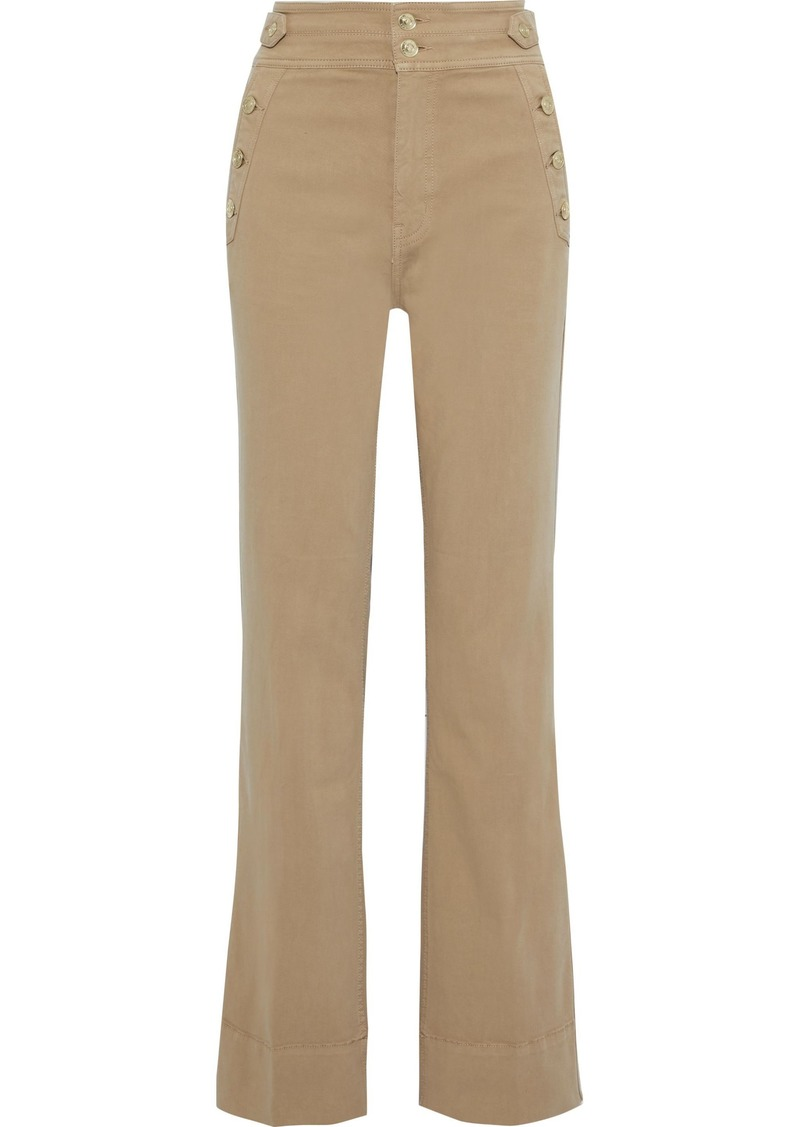 Current/elliott Woman The Maritime Button-detailed Cotton-blend Twill Flared Pants Beige