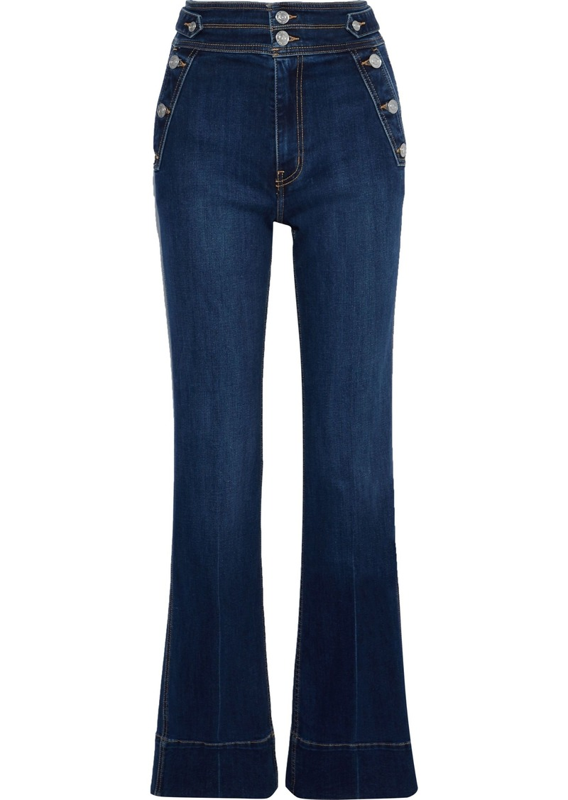 Current/elliott Woman The Maritime Button-detailed High-rise Flared Jeans Mid Denim