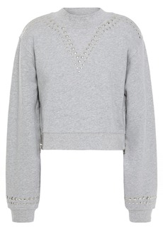 Current/elliott Woman The Message Cropped Studded French Cotton-terry Sweatshirt Stone