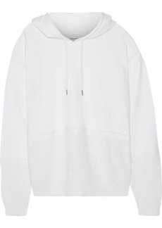 Current/elliott Woman The Mini Knitted And French Cotton-blend Terry Hooded Sweatshirt White
