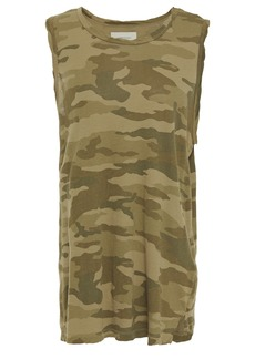 Current/elliott Woman The Muscle Tee Printed Cotton-jersey Tank Army Green