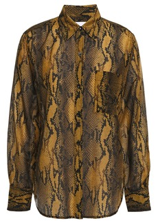 Current/elliott Woman The Neal Snake-print Cotton And Silk-blend Shirt Brown