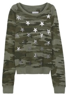Current/elliott Woman The Open Back Metallic Printed French Cotton-terry Sweatshirt Army Green