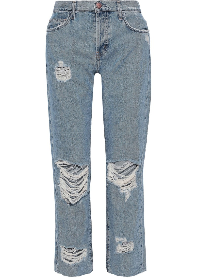 Current/elliott Woman The Original Straight Cropped Distressed High-rise Straight-leg Jeans Mid Denim