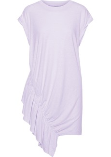 Current/elliott Woman The Pacific Ave Ruffled Linen And Cotton-blend Jersey Mini Dress Lilac