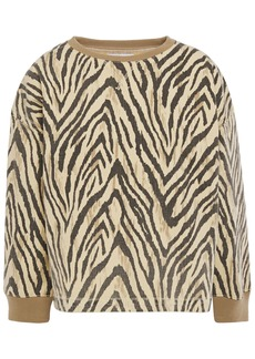 Current/elliott Woman The Patty Zebra-print Denim Top Pastel Yellow