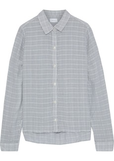 Current/elliott Woman The Pearl Checked Voile Shirt Storm Blue