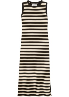 Current/elliott Woman The Perfect Muscle Tee Striped Cotton-jersey Midi Dress Cream