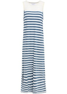 Current/elliott Woman The Perfect Muscle Tee Striped Cotton-jersey Midi Dress Slate Blue