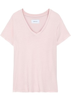 Current/elliott Woman The Perfect V Distressed Cotton-jersey T-shirt Pastel Pink