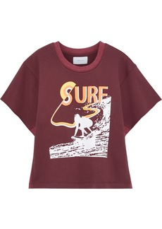 Current/elliott Woman The Pickup Jersey-paneled Printed French Cotton-terry Top Burgundy