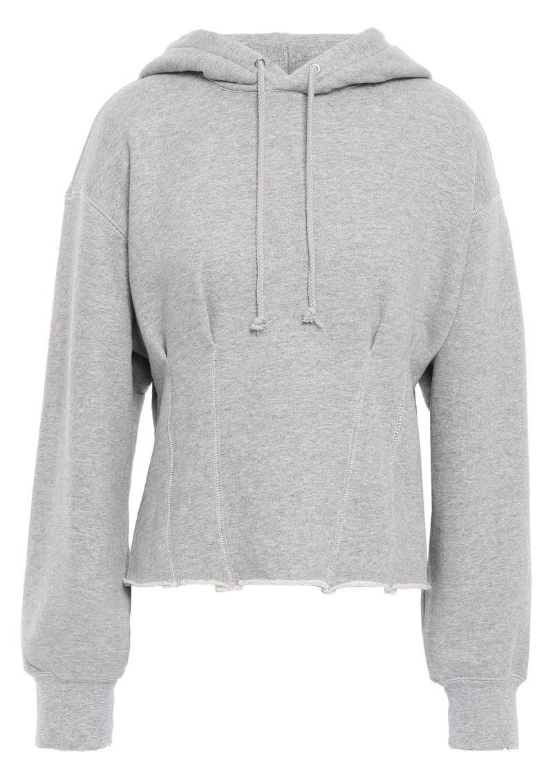 Current/elliott Woman The Pintuck French Cotton-terry Hoodie Gray