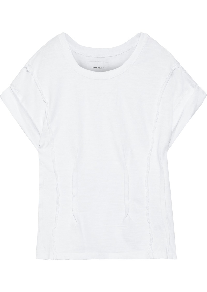 Current/elliott Woman The Pintucked Cotton-jersey T-shirt White
