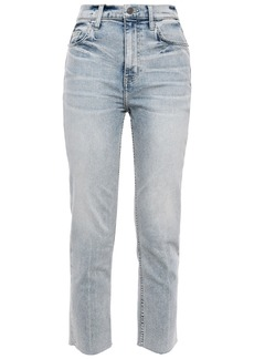 Current/elliott Woman The Pipe Dream Cropped Faded High-rise Slim-leg Jeans Light Denim