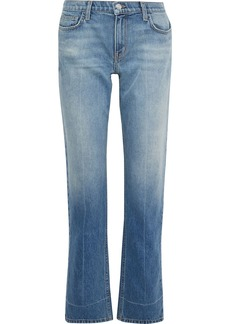 Current/elliott Woman The Poker Faded Mid-rise Straight-leg Jeans Light Denim