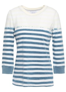 Current/elliott Woman The Poolboy Bleached Striped Cotton-jersey Top Storm Blue