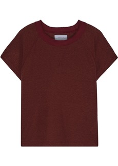 Current/elliott Woman The Raglan Mélange Ribbed Jersey T-shirt Merlot