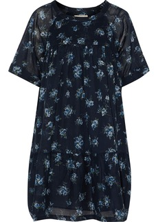 Current/elliott Woman The Raglan Tee Gathered Floral-print Cotton-broadcloth Mini Dress Navy
