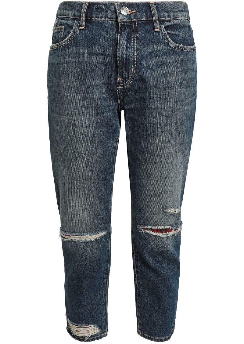 Current/elliott Woman The Repaired Fling Cropped Distressed Mid-rise Slim-leg Jeans Mid Denim