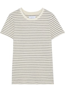 Current/elliott Woman The Retro Crew Metallic Striped Cotton-blend T-shirt Ecru