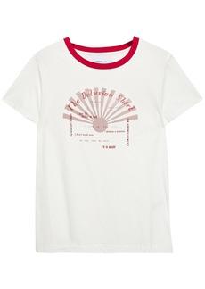 Current/elliott Woman The Retro Crew Printed Cotton-jersey T-shirt White
