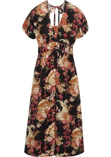 Current/elliott Woman The Retro Floral-print Linen-blend Midi Dress Black