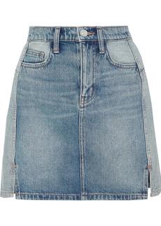 Current/elliott Woman The Reversed Distressed Two-tone Denim Mini Skirt Mid Denim