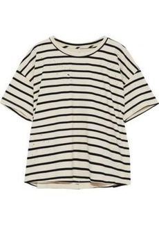 Current/elliott Woman The Roadie Distressed Striped Cotton-blend Top Ivory