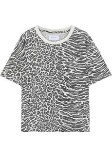 Current/elliott Woman The Roadie Leopard-print Cotton-jersey T-shirt Animal Print