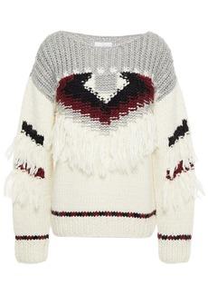 Current/elliott Woman The Rosemary Fringed Intarsia-knit Sweater Stone