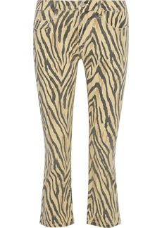 Current/elliott Woman The Ruby Cropped Zebra-print Low-rise Slim-leg Jeans Beige